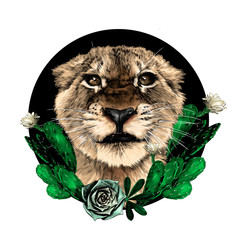 Foto op Canvas Hand getrokken schets van dieren muzzle of a small tiger with a full-face grin on the background of a round composition decorated with flowering cacti, sketch vector graphics color drawing on a white background