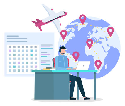 Company working with travelers clients getting insurances and flight tickets. Manager on hotline answering questions of customers. Globe with pointers, plane and calendar dates. Vector in flat style