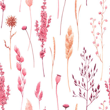 Beautiful vector seamless pattern with watercolor herbarium wild dried grass in pink and yellow colors. Stock illustration.