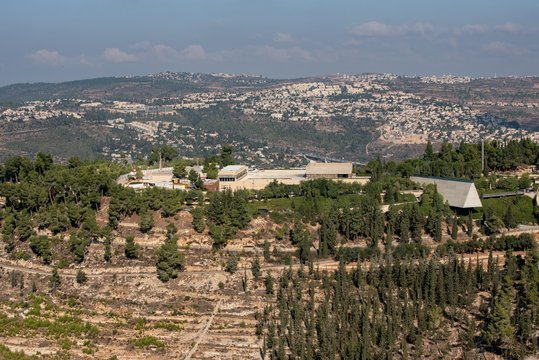 Landscape of Yad Vashem under a cloudy sky in Jerusalem in Israel