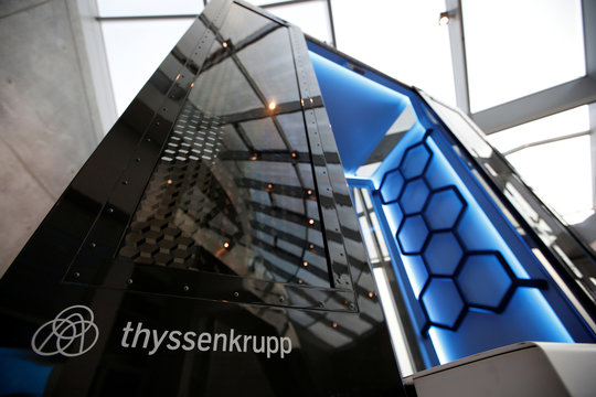 Model of elevator called MULTI is pictured inside Thyssenkrupp's elevator test tower in Rottweil