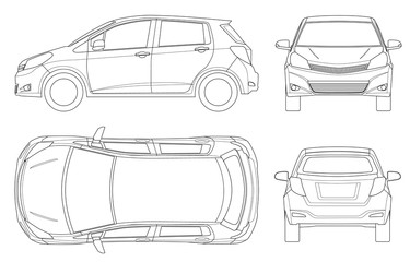Subcompact hatchback car in outline. Compact Hybrid Vehicle. Eco-friendly hi-tech auto. Easy to change the thickness of the lines. Template vector isolated on white View front, rear, side, top