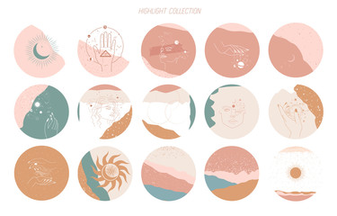 Big set of round icons for social media stories. Abstract various vector highlight covers with mystical and astrology objects, woman face, space objects in one line style. Vector illustration.