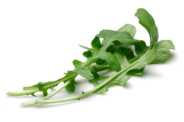 Bunch of fresh rucola isolated on white