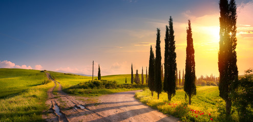 Door stickers Tuscany art spring countryside landscape with beautiful farmland and dirt road over sunrise sky
