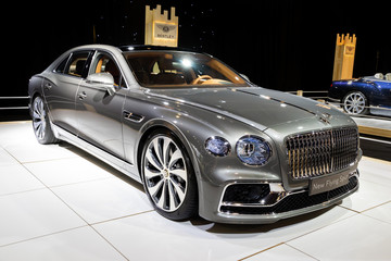BRUSSELS - JAN 9, 2020: New Bentley Flying Spur luxury car model showcased at the Brussels Autosalon 2020 Motor Show.