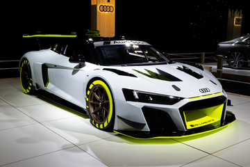 BRUSSELS - JAN 9, 2020: Audi R8 LMS GT2 sports car showcased at the Brussels Autosalon 2020 Motor Show.