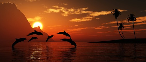 Foto auf Leinwand Braun Dolphins play at sunset, tropical sea sunset, 3D rendering