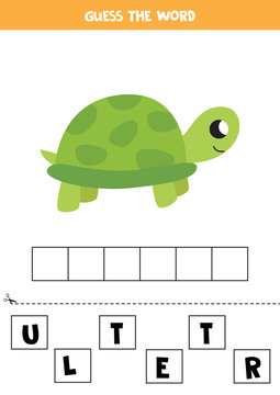 Guess the word. Cute cartoon turtle. Educational matching game for kids.