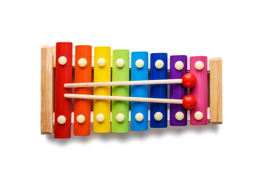 Colour xylophone isolated on white background