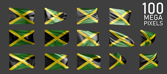 Jamaica flag isolated - various pictures of the waving flag on grey background - object 3D illustration