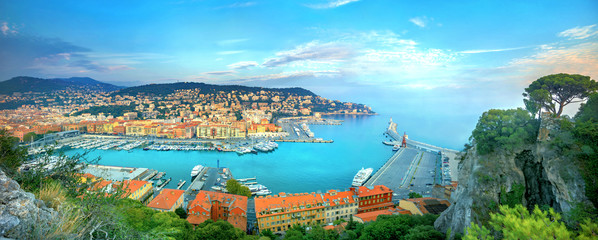 Foto op Canvas Nice Panoramic view of Nice Old Port. Nice, France, Cote d'Azur, French Riviera