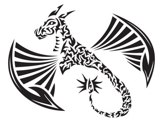 Illustration of a Winged Dragon in tribal tattoo style