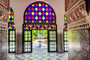 Foto op Aluminium Marokko Decoration interior in ancient Bahia Palace. Marrakesh. Morocco, North Africa