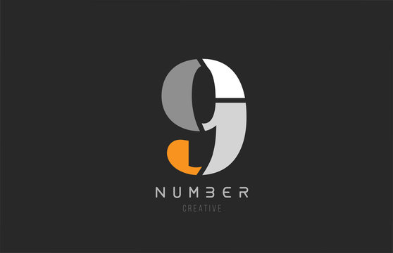 number 9 nine for company logo icon design in grey orange and white colors