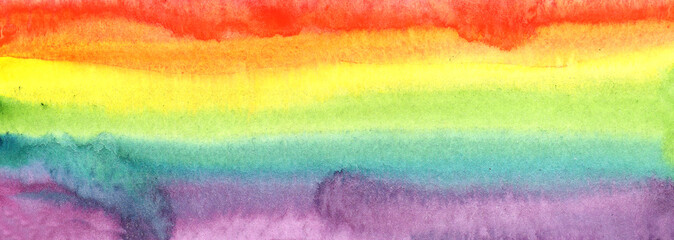 Illustration watercolor abstract banner spot seamless gradient colors of the rainbow. for design, place for text.