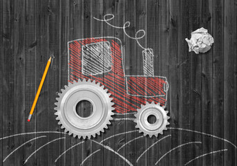 3d rendering of crumpled piece of paper, pencil, and chalk-drawn picture of tractor with real cogwheels instead of normal wheels on grey wooden background.