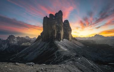 Sunset over Tre cime di Lavaredo peaks, dolomites, Itay