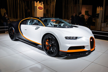 BRUSSELS - JAN 9, 2020: Bugatti Chiron Sport sports car showcased at the Brussels Autosalon 2020 Motor Show.
