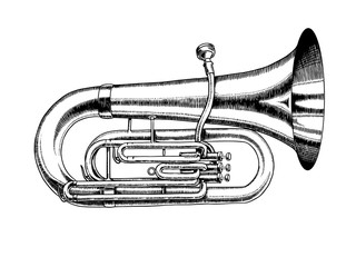 Jazz tuba in monochrome engraved vintage style. Hand drawn trumpet sketch for blues and ragtime festival poster. Musical classical wind instrument.  Wall mural