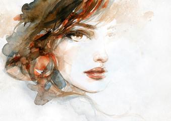 Obraz beautiful woman. fashion illustration. watercolor painting - fototapety do salonu