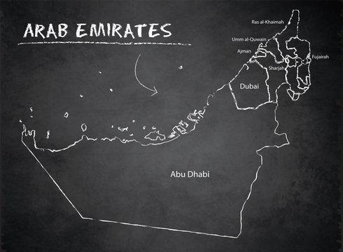 United Arab Emirates map, administrative division, separates regions and names, background blackboard chalkboard vector