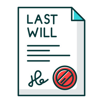Signed last will RGB color icon. Document with stamp. Notarized testament. Apostille and legalization. Legal paper. Notary services. Isolated vector illustration