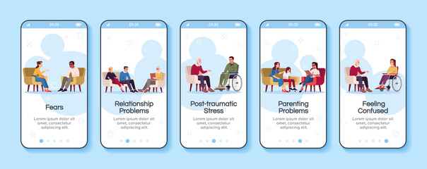 Psychology consultation onboarding mobile app screen vector template. Relationship problems. Fears. Walkthrough website steps with flat characters. UX, UI, GUI smartphone cartoon interface concept