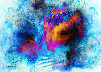 beautiful shamanic man with headband and necklace on abstract structured space background.