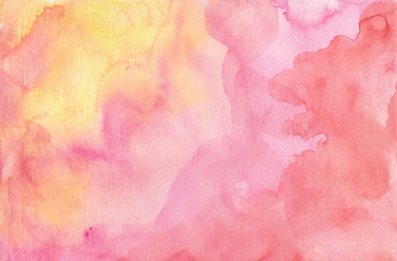 Pink purple red and yellow watercolor paint splash or blotch background with fringe bleed wash and bloom design, blobs of paint and old vintage watercolor paper texture grain