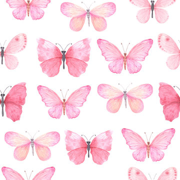 Seamless pattern with pink bright watercolor butterflies