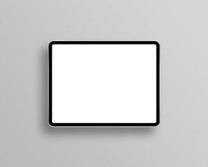 Tablet mockup on minimal background. Modern tablet display mockup scene. Tablet with empty screen. Top view. Photo mockup with clipping path.