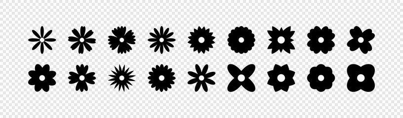 Flowers vector icons. Flower icon. Flowers isolated on transparent background. Flowers in modern simple flat style. Eps10