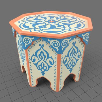 Painted hexagon Moroccan table
