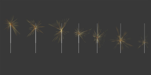 Sparklers of varying degrees of burning. Slowing sparkler. The process of burning sparklers
