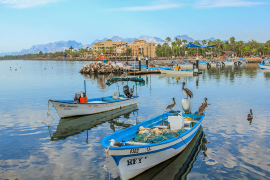 Loreto, Baja California Sur, Mexico - August 22, 2013: Boats are docked at the port of Loreto