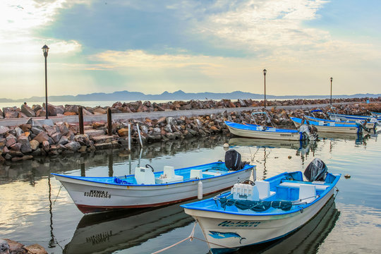 Loreto, Baja California Sur, Mexico - August 22, 2013: Boats docked at the port of Loreto