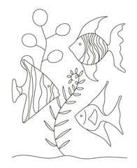Hand drawing coloring pages for children and adults. A beautiful beautiful coloring book in a linear style. for creativity. Antistress coloring book with tropical fish, algae, ocean, underwater world