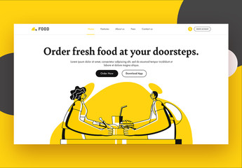 Website Landing Page Layout with Food Themed Illustrations