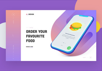 Website Landing Page Layout with Food Theme and Smartphone Illustration