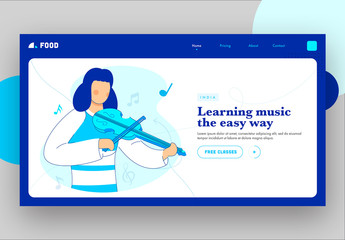 Blue and White Website Landing Page Layout with Music Themed Illustrations