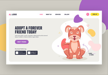Website Landing Page Layout with Pet-Themed Illustrations