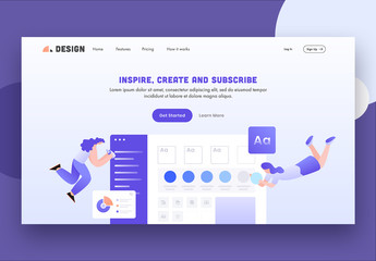 Purple and White Website Lading Page Layout with Character and App Illustrations