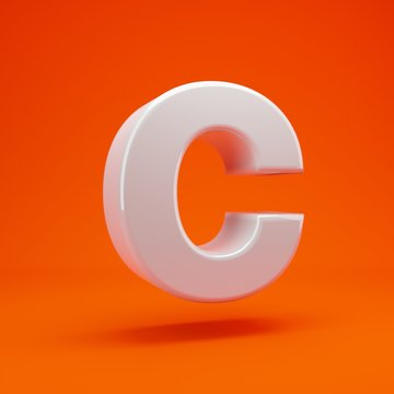 Whithe glossy 3d letter C uppercase on hot orange background. 3D rendering. Best for anniversary, birthday party, celebration.