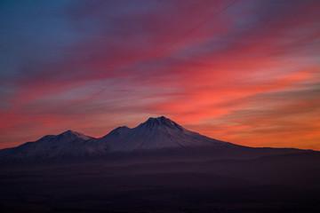 Snowy Mount Hasan Volcano Anatolia Turkey Aksaray Sunset Pink Red Orange Sky