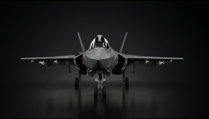 Aircraft fighter jet in undisclosed location in hangar facing front 3d render