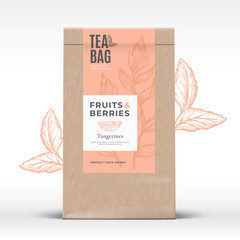 Obraz Craft Paper Bag with Fruit and Berries Tea Label. Abstract Vector Packaging Design Layout with Realistic Shadows. Modern Typography, Hand Drawn Tanferine and Leaves Silhouettes Background. - fototapety do salonu
