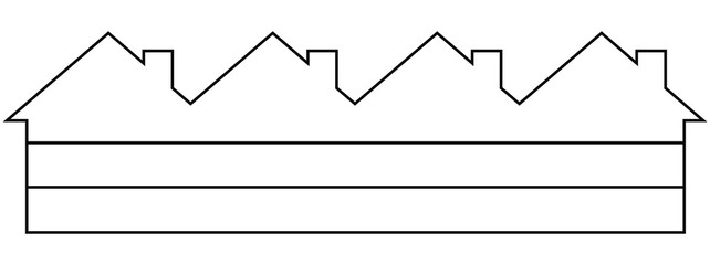 Group of houses, white silhouette, vector icon