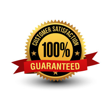 Powerful and majestic 100% customer satisfaction guaranteed label, with red ribbon on top. Isolated on white background,
