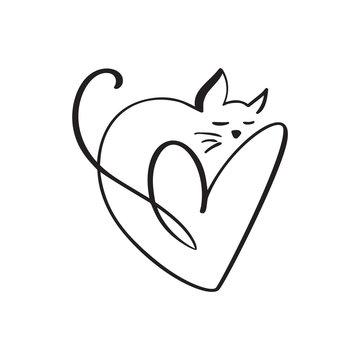 Heart and cat love logo sign. Design flourish element for valentine card. Vector illustration. Romantic symbol wedding. Template for t shirt, banner, poster